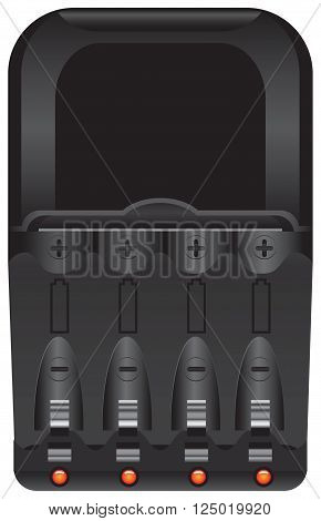 Industrial battery charger to charge AA-batteries. Vector illustration.
