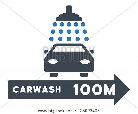 Carwash Right Direction vector illustration for street advertisement. Style is bicolor smooth blue flat symbols on a white background.