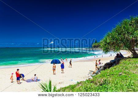 CALOUNDRA, AUS - DEC 06 2015: Hot sunny day at Dicky Beach Calundra, Queensland, Australia