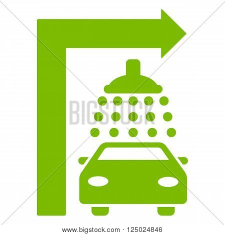 Carwash Turn Right vector illustration for street advertisement. Style is eco green flat symbols on a white background.