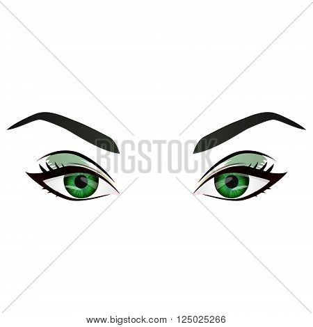 Realistic cartoon vector female green eyes and eyebrows and fashion make up. Green eyes and brows design element body parts isolated on white background. Eyes close up
