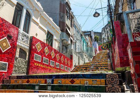 Rio de Janeiro, Brazil - December 21, 2012: The Landmark of Rio de Janeiro - Selaron Stairs, situated in Lapa, Rio de Janeiro, Brazil.