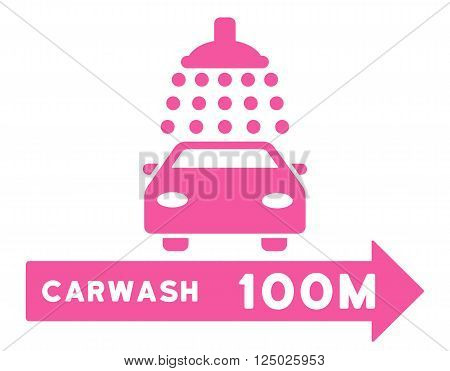 Carwash Right Direction vector illustration for street advertisement. Style is pink flat symbols on a white background.