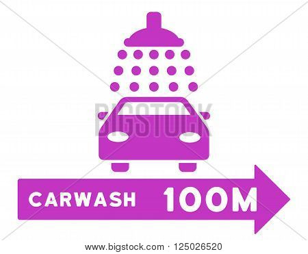 Carwash Right Direction vector illustration for street advertisement. Style is violet flat symbols on a white background.