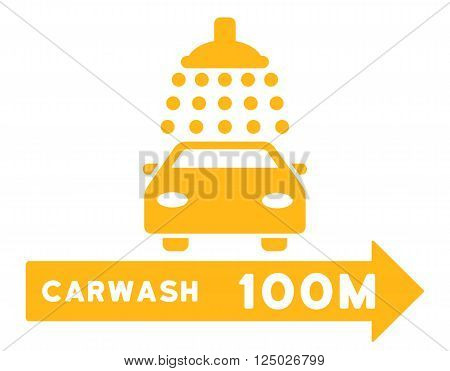 Carwash Right Direction vector illustration for street advertisement. Style is yellow flat symbols on a white background.