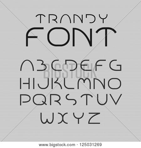 Minimalist alphabet upper case letters. Vector font.