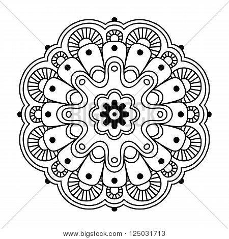 simple mandala on white background, vector illustration