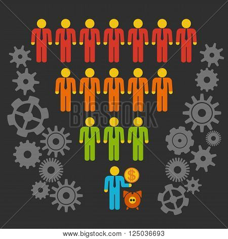 Marketing Funnel Sales Diagram with People and Cogs. Vector isolated on black background. Conversion Funnel Sale Chart. Concept of Funnel and Sales.