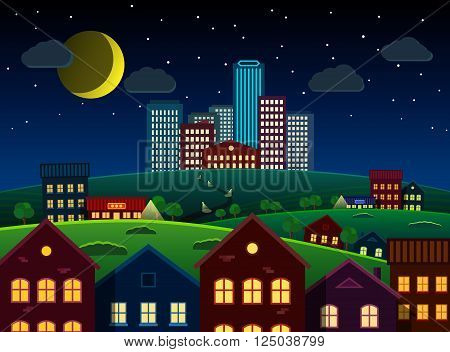 City and suburbs on hill scenery at night. Vector EPS 10. All layers available.