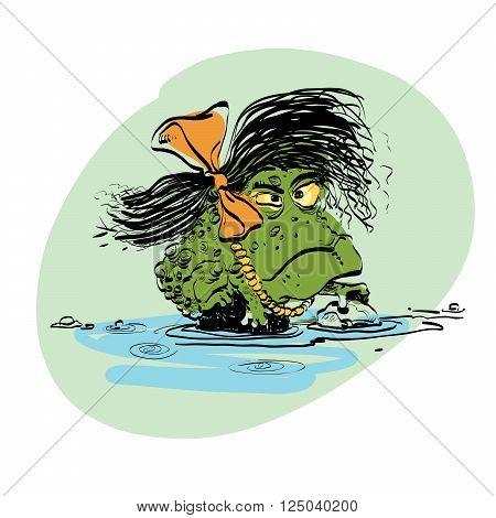 amphibian frog girl. Evolution and biology. Vector line art illustration. Comic style character