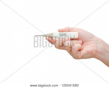 Woman hand holding digital thermometer on a white background. Space for text in the litte screen.