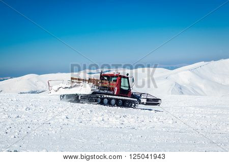 snowcat on a snowy mountain and green tree