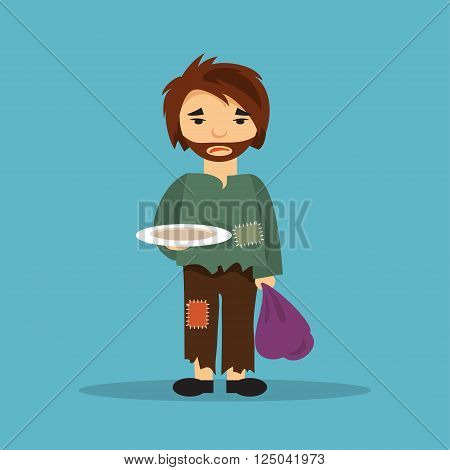 Hungry homeless man with an empty plate begging for food. The illustration on a social theme.