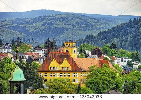 Panoramic view of Baden-Baden city and the hills. Baden-Baden is a spa town. It is situated in Baden-Wurttemberg in Germany.