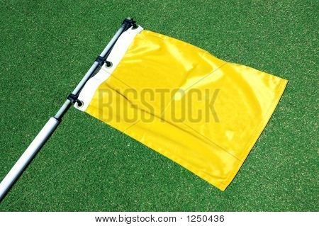 Golf Flag Laying On Putting Green