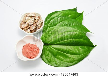Thai set of old style gum and betel leaf poster