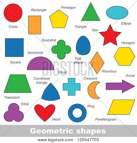 Complete set of simple geometric shapes in vector, the colorful version.