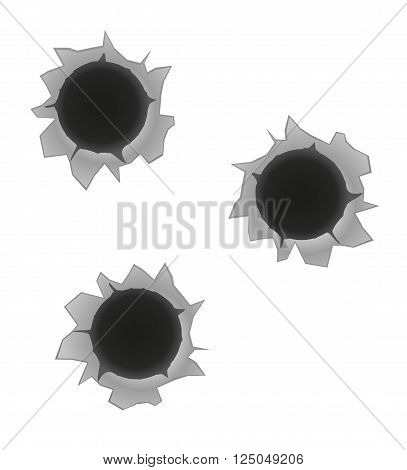 bullet holes vector illustration isolated on white background