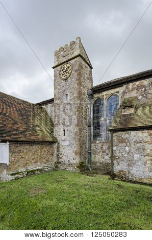 Clock tower of Saint Augustines church Brookland Romney Marsh Kent