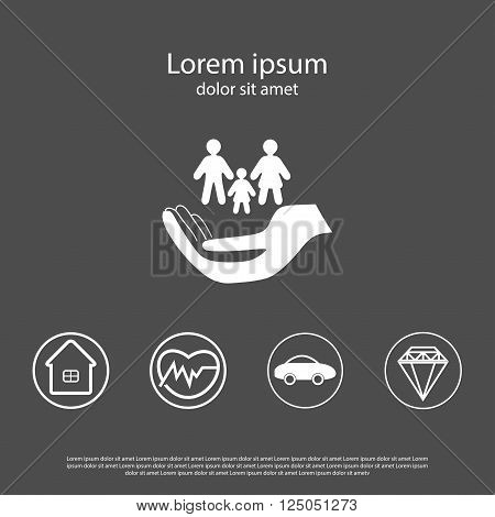 Insurance set- logo with hand and family car insurancereal estate insurance health insurance house insurance luxury insurance template for booklet brochure web site etc.