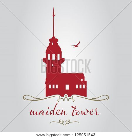 Istanbul maiden tower icon and shape vector illustration