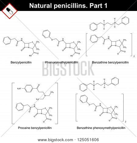 Chemical structures of natural penicillins - benzylpenicillin phenoxymethylpenicillin and its salts first part 2d vector on white background eps 8