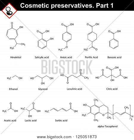 Molecular structures of main cosmetic preservatives first set 2d vector eps 8