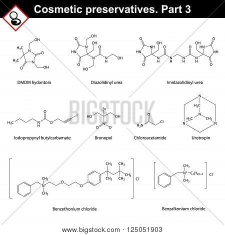 Molecular structures of main cosmetic preservatives third set 2d vector on white background eps 8