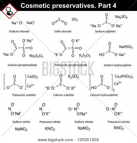 Molecular structures of main cosmetic preservatives fourth set 2d vector on white background eps 8