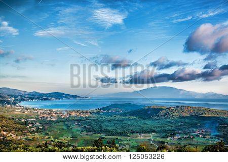 Zakynthos Island With Green Fields In Greece