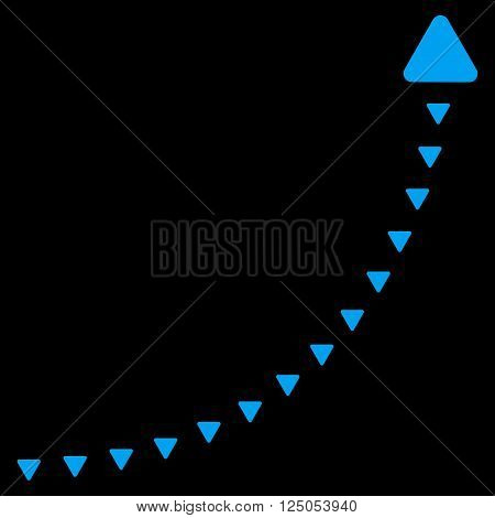 Dotted Growth Line vector icon. Dotted Growth Line icon symbol. Dotted Growth Line icon image. Dotted Growth Line icon picture. Dotted Growth Line pictogram. Flat blue dotted growth line icon.
