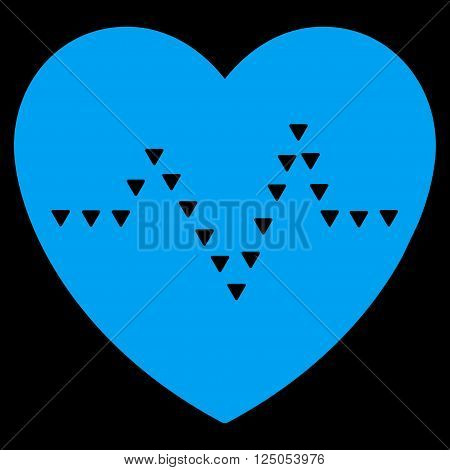 Dotted Heart Pulse vector icon. Dotted Heart Pulse icon symbol. Dotted Heart Pulse icon image. Dotted Heart Pulse icon picture. Dotted Heart Pulse pictogram. Flat blue dotted heart pulse icon.