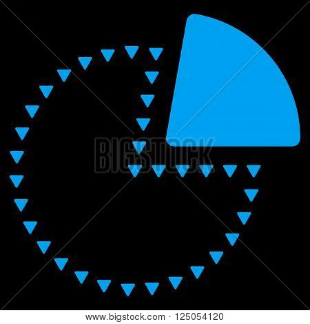 Dotted Pie Chart vector icon. Dotted Pie Chart icon symbol. Dotted Pie Chart icon image. Dotted Pie Chart icon picture. Dotted Pie Chart pictogram. Flat blue dotted pie chart icon.