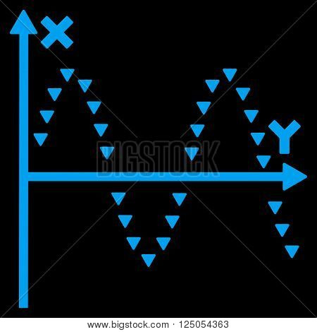 Dotted Sine Plot vector icon. Dotted Sine Plot icon symbol. Dotted Sine Plot icon image. Dotted Sine Plot icon picture. Dotted Sine Plot pictogram. Flat blue dotted sine plot icon.
