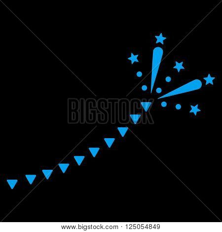 Fireworks Trace vector icon. Fireworks Trace icon symbol. Flat blue fireworks trace icon.