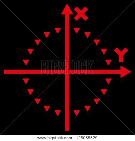 Dotted Circle Plot vector icon. Dotted Circle Plot icon symbol. Dotted Circle Plot icon image. Dotted Circle Plot icon picture. Dotted Circle Plot pictogram. Flat red dotted circle plot icon.