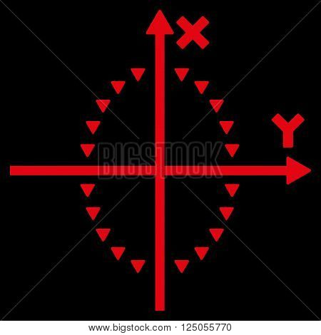 Dotted Ellipse Plot vector icon. Dotted Ellipse Plot icon symbol. Dotted Ellipse Plot icon image. Dotted Ellipse Plot icon picture. Dotted Ellipse Plot pictogram. Flat red dotted ellipse plot icon.