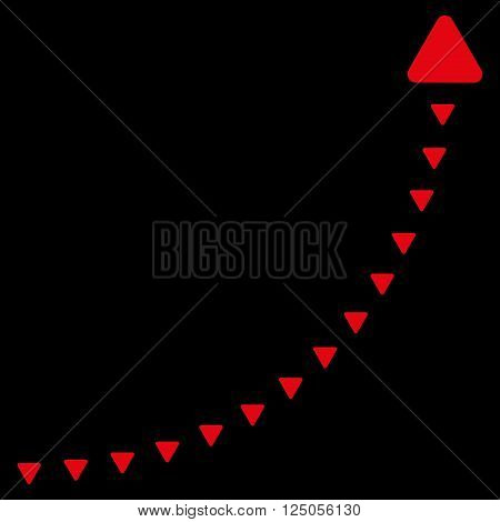 Dotted Growth Line vector icon. Dotted Growth Line icon symbol. Dotted Growth Line icon image. Dotted Growth Line icon picture. Dotted Growth Line pictogram. Flat red dotted growth line icon.