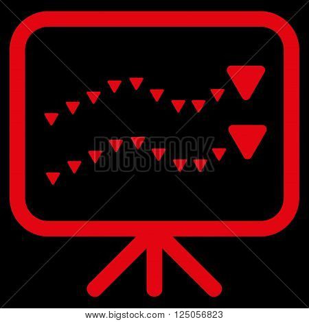 Dotted Trends Board vector icon. Dotted Trends Board icon symbol. Dotted Trends Board icon image. Dotted Trends Board icon picture. Dotted Trends Board pictogram. Flat red dotted trends board icon.