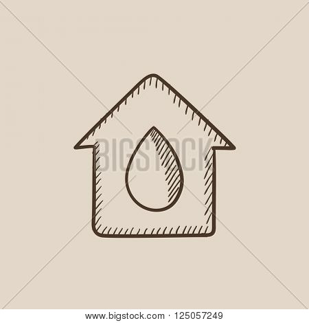 House with water drop sketch icon.