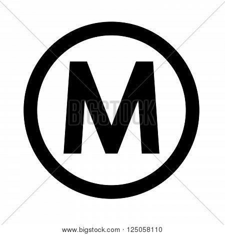 Basic font letter M icon Illustration design