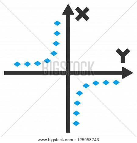 Dotted Hyperbola Plot vector toolbar icon. Style is flat icon symbol, color, white background, rhombus dots.