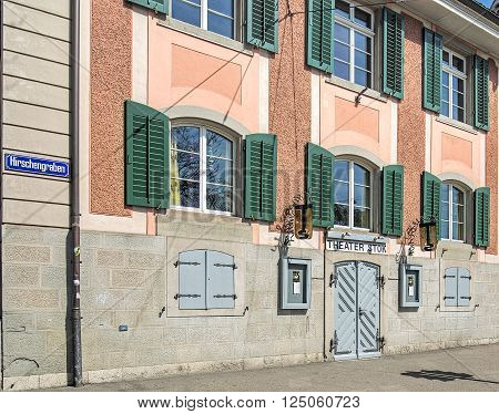 Zurich, Switzerland, 12 April, 2015: facade of the Theater Stok building on Hirschengraben street. Theater Stok is a privately managed small theater in the