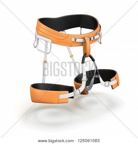 Safety harness equipment isolated on white background. 3d rendering.
