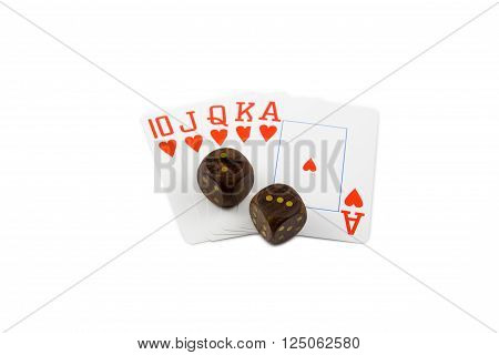 wooden dices with royal flush poker cards isolated on white background
