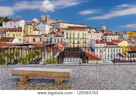 Lisbon cityscape - traditional architecture, Alfama district, Lisbon, Portugal.