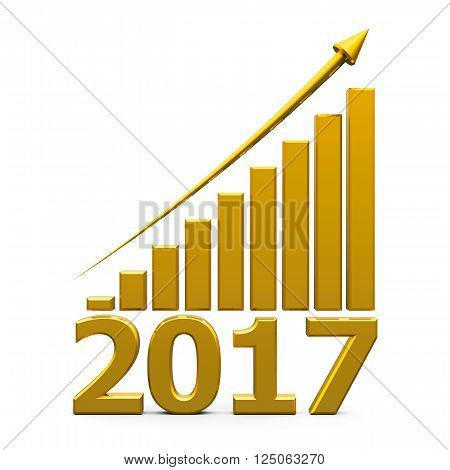 Gold business graph with gold arrow up represents the growth in 2017 year three-dimensional rendering 3D illustration