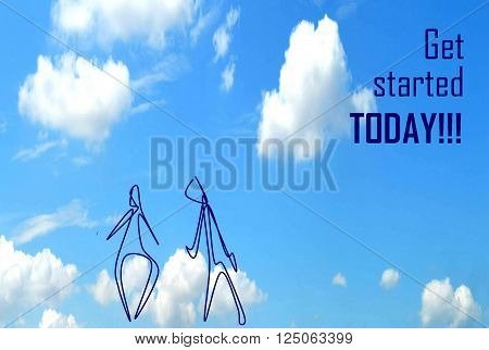 GET STARTED TODAY  In a picture is represented flight for good start. Despite the general background, a picture it is possible to use individually in the different purposes.