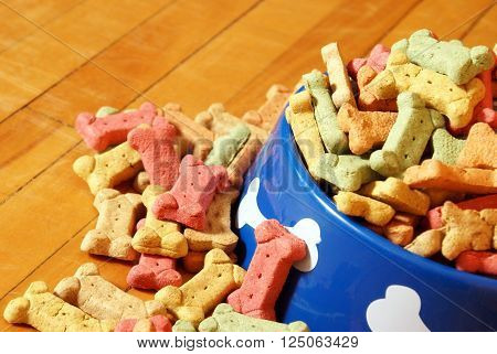 A closeup view of an abundant supply of dog treats overflowing his bowl on the hardwood floor of his domestic lifestyle.