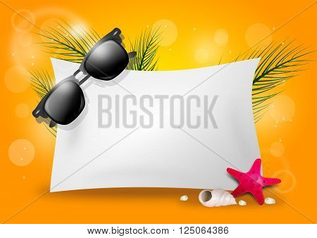 Illustration of yellow summer background with blank paper sheet and sunglasses
